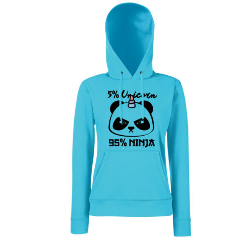 5/% Unicorn 95/% NINJA//Girls hoodie//Unicorno GLITTER REGALO PANDA polvere di fata