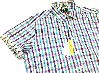 New Robert Graham Classic Fit Enders Plaid Square Mens Sport Shirt Sz L,XL,2XL