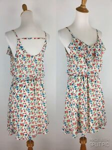 Lush-Womens-S-Small-Multi-Color-Floral-Print-Cut-Out-Back-Sleeveless-Dress-A77