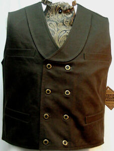 Double Breasted Brown Frontier Classics Old West Victorian Westworld style vest