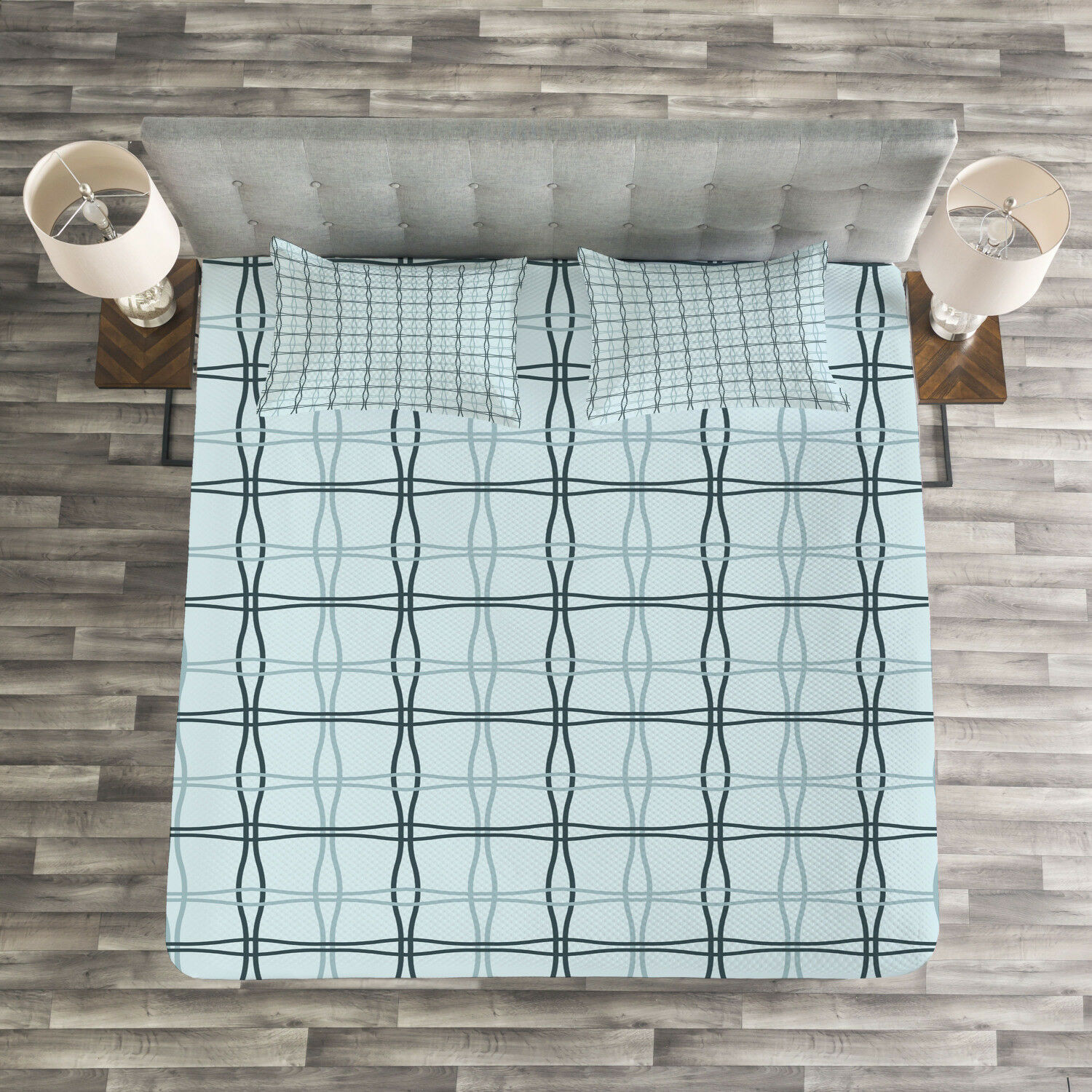 bluee Quilted Bedspread & Pillow Shams Set, Square Wavy Lines Patterns Print
