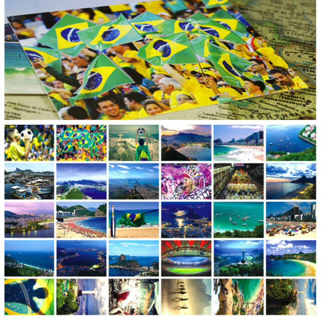 LOTS 30PCS Rio de Janeiro Brazil City View Postcards Street Football Game Views