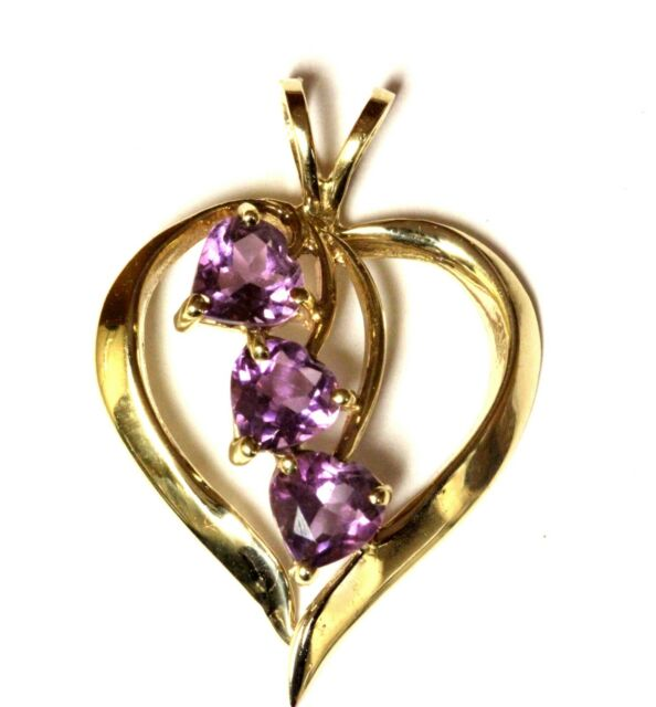 10k yellow gold purple amethyst heart pendant charm 1.9g estate vintage