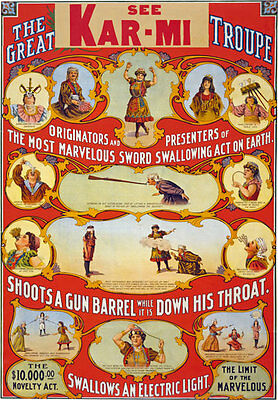 M31 Vintage Karmi Sword Swalling Magic Illusionist Poster Re-print A4