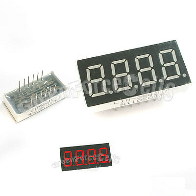 "1 pc 0.36"" 7 Segment 4 Digit Super Red LED Display Common Anode 12 Pins"