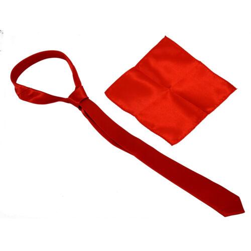 22 cm rouge mouchoir M8X4 Un ensemble de 5 cm de Large Cravate Rouge et 22