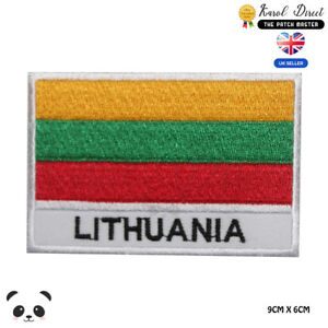 Lithuania-National-Flag-With-Name-Embroidered-Iron-On-Sew-On-Patch-Badge