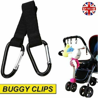 2x Shopping Bag Hooks For Buggy Pram Pushchair Stroller Clips Strong Carabiner
