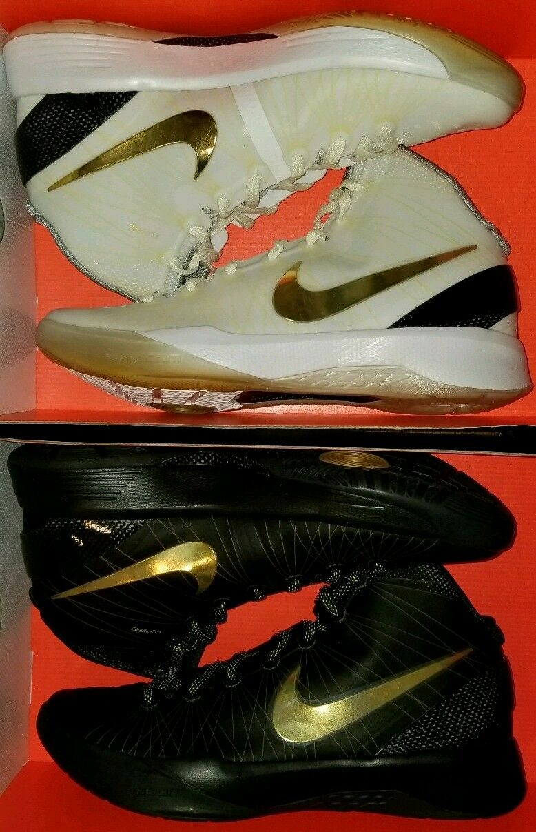 2 pair NIKE ZOOM HYPERDUNK ELITE HOME AWAY gold 10 OLYMPIC ALL STAR XMAS KOBE KD