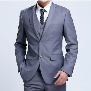 in stock incredible prices special buy Details about New Men's TWO Botton Fashion Dress Casual Business Slim fit  Complete Suits GRAY