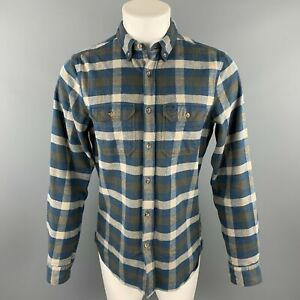 FJALLRAVEN-Size-M-Navy-amp-Brown-Plaid-Cotton-Button-Down-Long-Sleeve-Shirt
