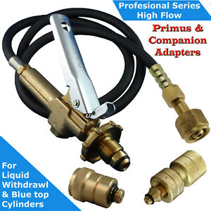 LPG-Filler-Gun-amp-Hose-CGA-555-to-POL-BBQ-with-Primus-and-Companion-Adapters