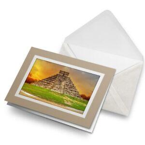 Greetings-Card-Biege-Kukulkan-Pyramid-Chichen-Itza-Mexico-16209