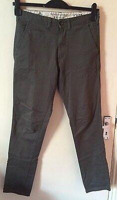 * Nuovo * Uomo Slim Fit 100% Cotone Color Kaki Pantaloni Chino, W30 X L32-mostra Il Titolo Originale
