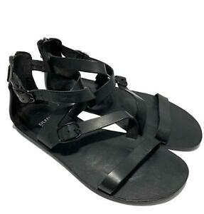 EILEEN-FISHER-BLACK-FLAT-LEATHER-SANDALS-9-5-445