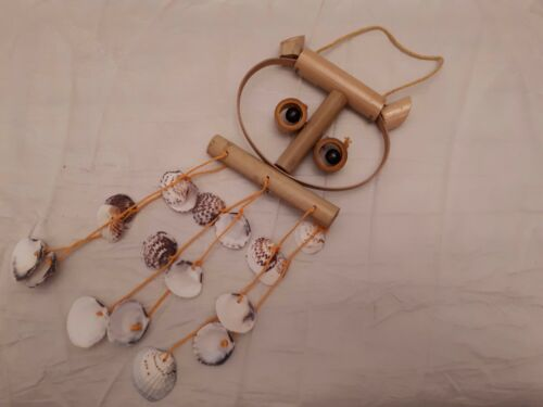 Bamboo Wind Chime Eule Deko Windspiel Bambus Holz Muscheln Wanddeko Klangspiel