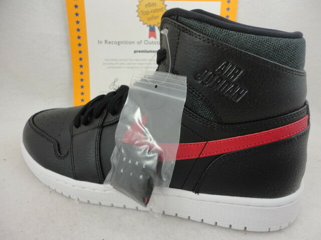 Nike Air Jordan 1 Retro High, Air Rare, Black   Gym Red   White, Size 12