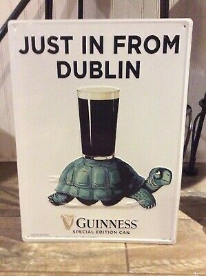 "Brand New! Guinness Draught Irish Stout Ostrich Pint Metal Beer Sign 19x14"""
