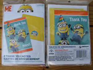 2 Packs Despicable Me Minions Thank You Merci Cards Envelopes Seals