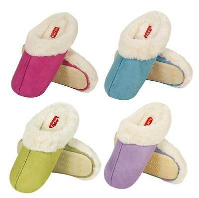 Ladies Poly Suede Plush Soft Fur Trim Classic Mule Slippers In 4 Bright Colours