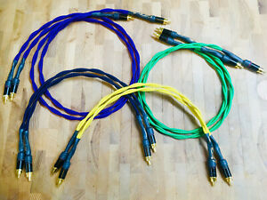 Audiophile-RCA-Interconnects-Pair-ISO-TWIST-Rean-Gold-Custom-Lengths-Colors