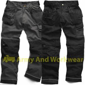 Triple-Costura-De-Resistente-Lona-Pro-trabajo-trouser-tool-knee-Bolsillos-De-Pantalones-Para-Hombre