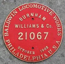 Original Baldwin Locomotive Builders Plate EL PASO & NORTHEASTERN RR 1902