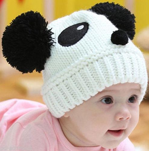 Baby Wintermütze Kinder Mütze Strickmütze Panda Bär weiß NEU OVP