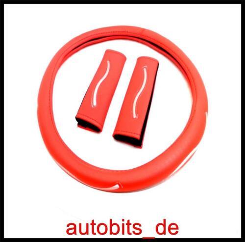 Volant belle rouge cuir synthétique Volant Référence voitures 37-39 cm avec sangles rembourrées
