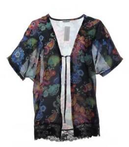 Maxima-Chiffon-Damen-Fledermaus-Jacke-Cardigan-Schwarz-transparent-mit-Spitze