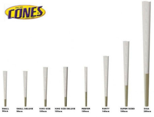 Party Size 140mm Natural Rice Paper Pre Rolled Cones w// 26mm Filter Tips 700//Box