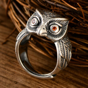 A01-Ring-Silver-925-Owl-with-Eyes-of-Red-Zirconia-Crystal-Adjustable-Size