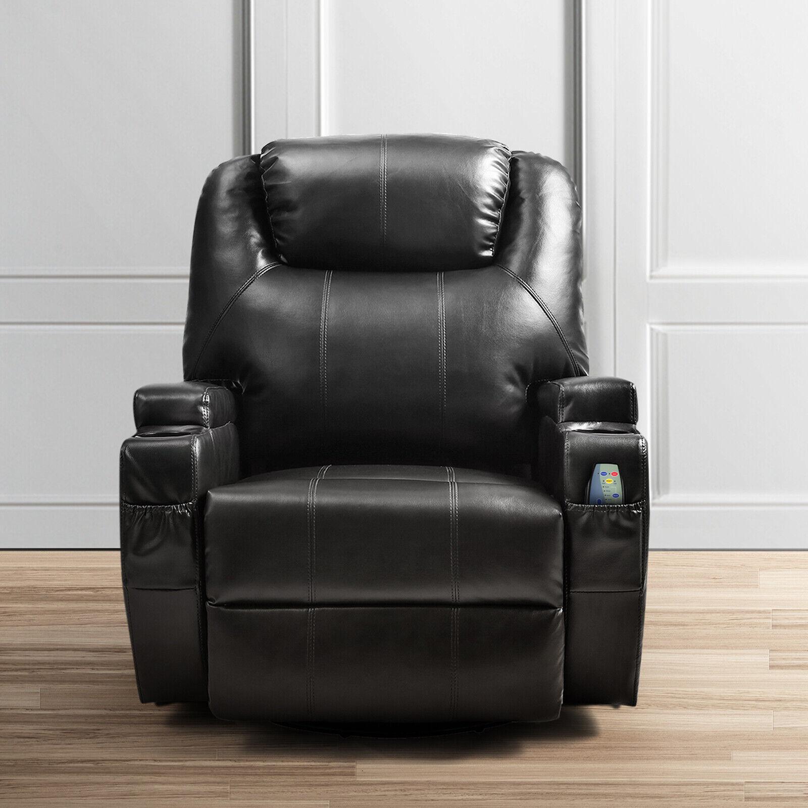 Fantastic Full Body Massage Recliner Chair Leather Vibrating Heat Lounge 3600 Swivel Black Short Links Chair Design For Home Short Linksinfo