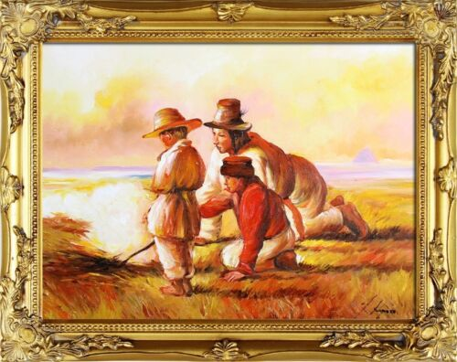 Jozef Chelmonski-Pastuszkowie przy ognisku-47x37 Ölgemälde Sofort Versand