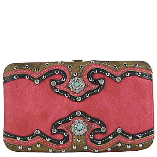 HOT PINK WESTERN STUDDED EMERALD STONE LOOK FLAT THICK WALLET BLING FASHION NEW