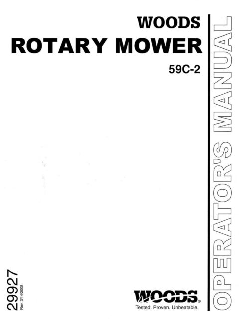 Woods Belly Mower Model 59c 2 Operators And Parts Manual Fits