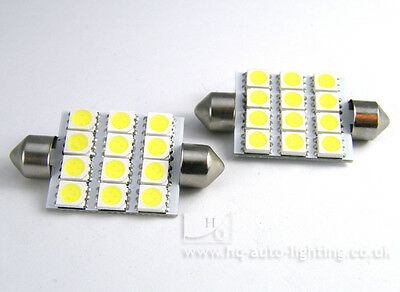 2x 42mm C10W 264 12-SMD 5050 PCB Car LED Interior bulbs Xenon WHITE LAND ROVER