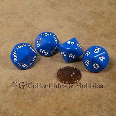 NEW 4 BLUE Place Value D10 Percentile RPG D&D Math Game Dice Set Koplow