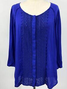 Anthropologie-Maeve-Women-Blouse-Blue-Size-12-Crochet-Front-3-4-Sleeve