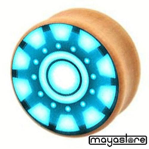 6-16MM PLUG OREILLE BOIS UFO rétro motif bleu fleur tunnel selle bouchons
