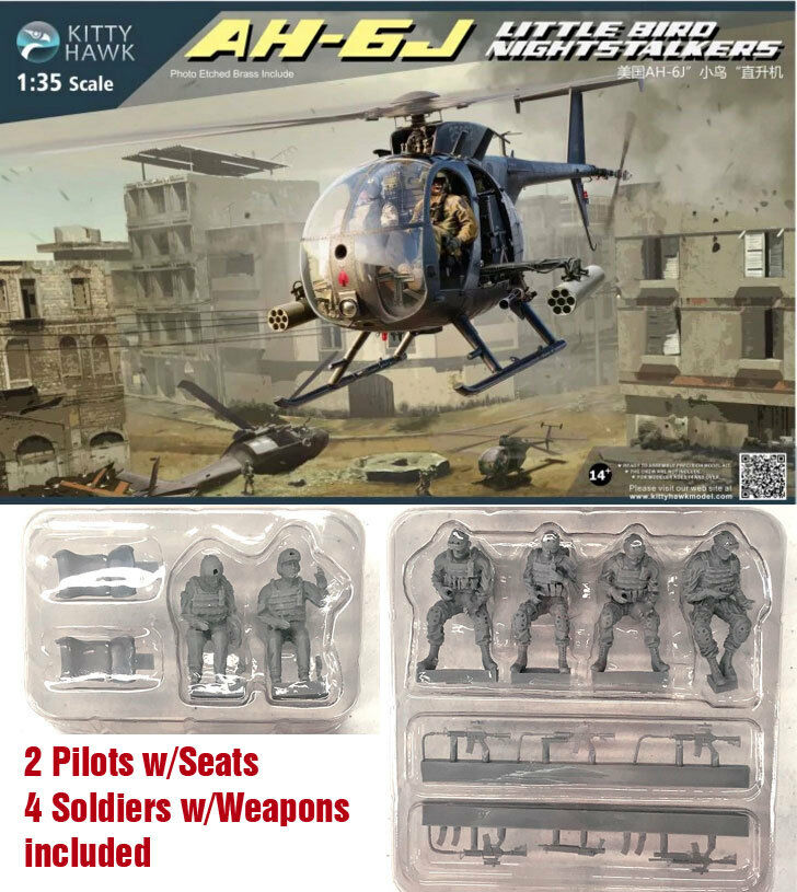 Kitty Hawk Models 1 35 US AH-6M MH-6M Little Bird Helicopter with Crew