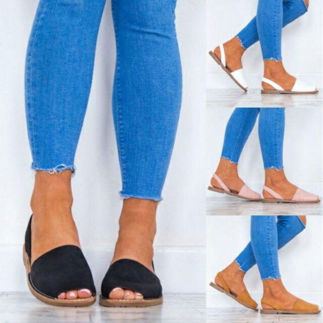 Womens Summer Slingbacks Flat Peep Toe Sandals Espadrilles Slippers Casual Shoes