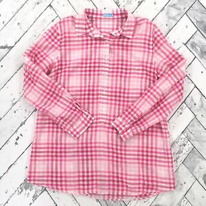 J-McLaughlin-Popover-Tunic-Top-Size-M-Pink-Gingham-Check-Shirt