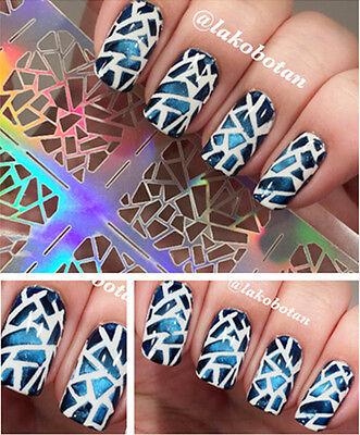 12Tips/Sheet Irregular Triangle Nail Vinyls Nail Manicure Stencil Sticker #206