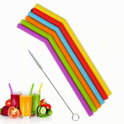 6Pcs Reusable Silicone Drinking Bent Straws Food Grade Straw with Cleaning Brush