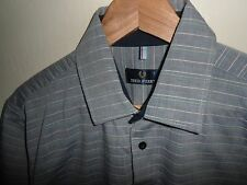 """VGC* Large FRED PERRY Mens Grey Stripe Short Sleeve Shirt Size LARGE L 16.5"""""""