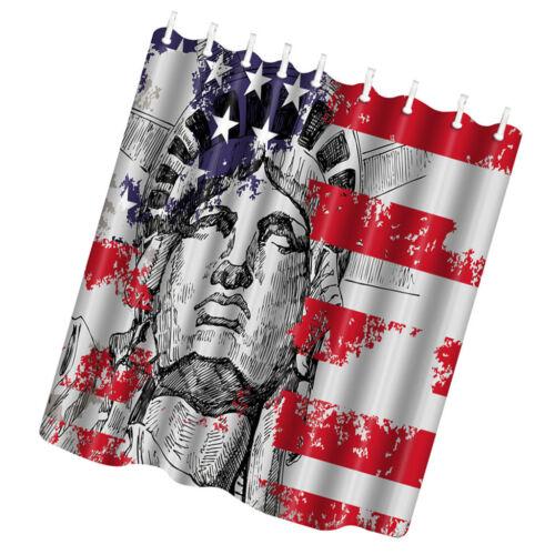 USA Flag Curtain 4th of July Fabric Shower Curtain Home Bath Curtain Decor