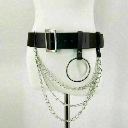 Punk Faux Leather Belt Adjustable Laser Metal Chain Hoop Rings Waist  Strap Cool