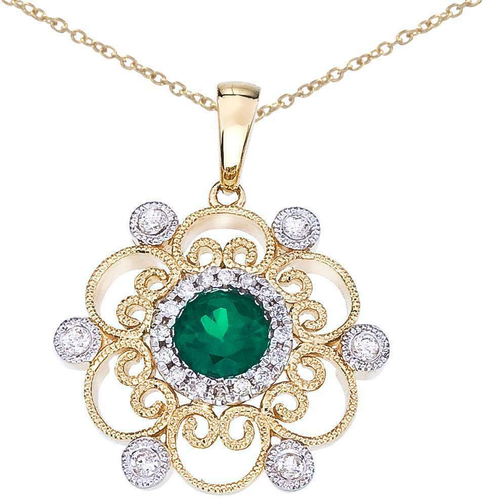 14K Two-Tone gold Round Emerald & Diamond Filigree Pendant (Chain NOT included)