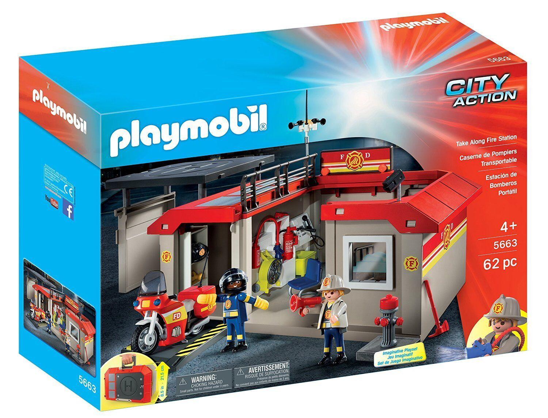 PLAYMOBIL 5663 Take Along Fire Station Playset Ages 4+  nouveau Toy Play garçons Girls  40% de réduction
